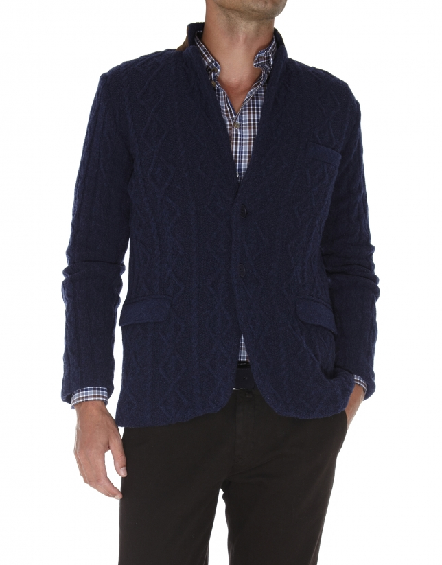 Navy blue knit jacket
