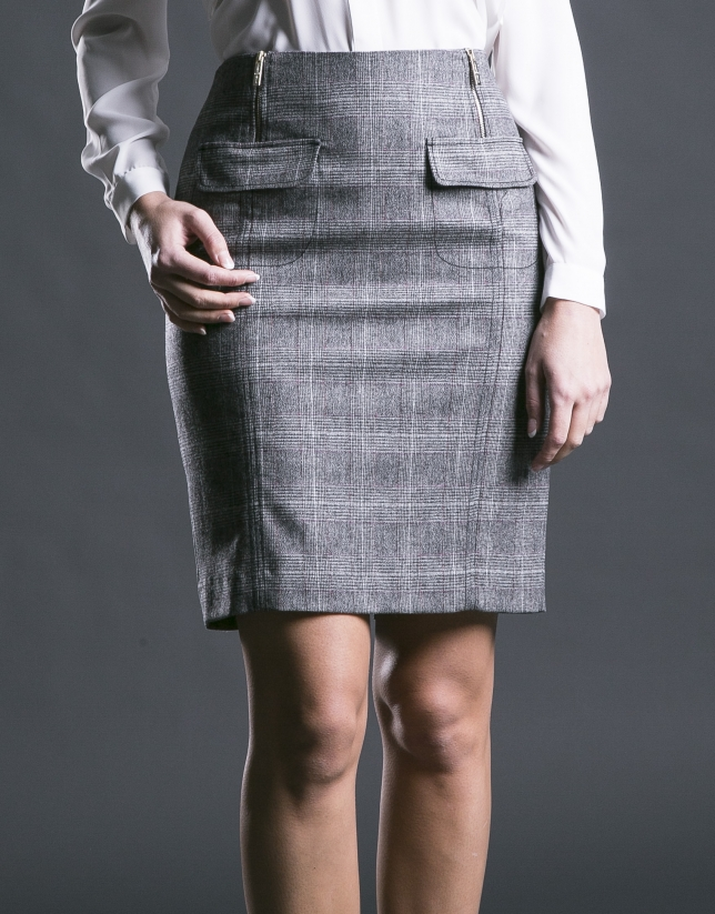 Straight grey Prince of Wales skirt