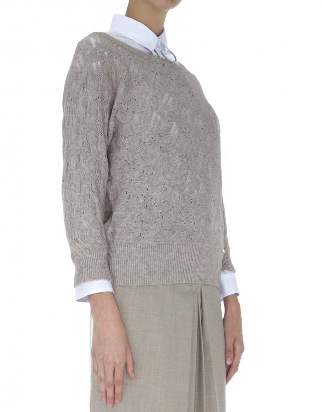 Beige openwork sweater