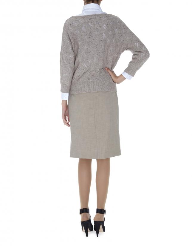 Beige openwork sweater