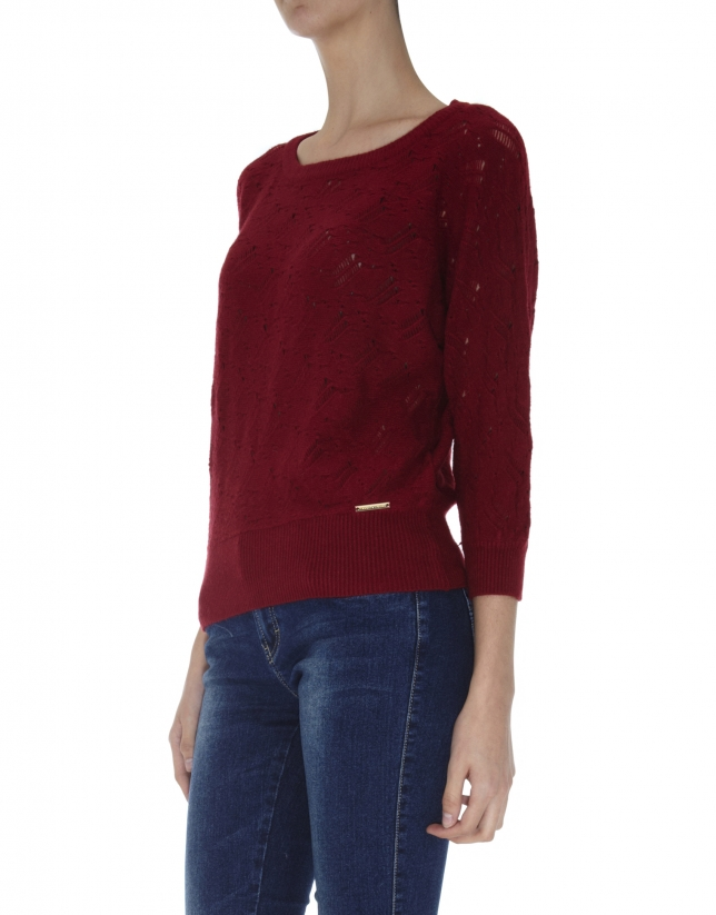 Burgundy openwork sweater