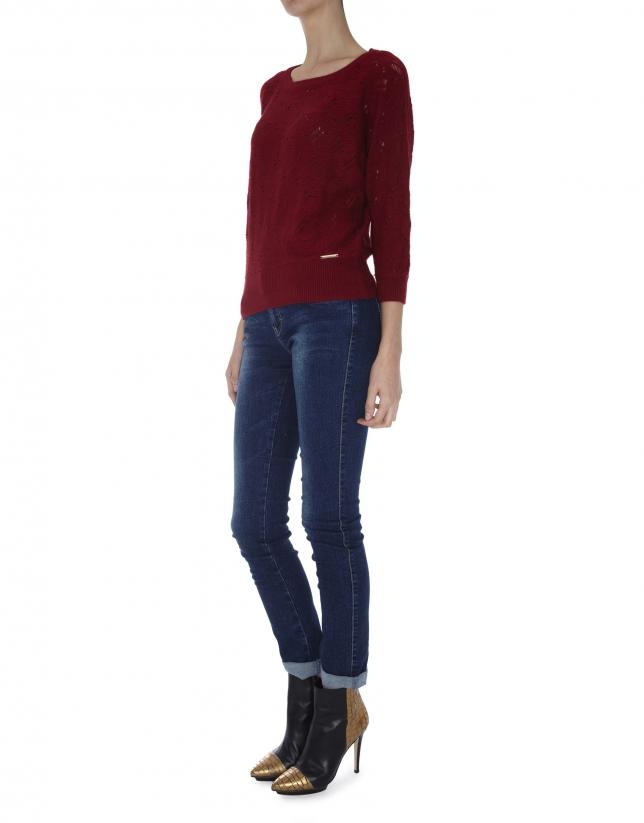 Burgundy openwork sweater