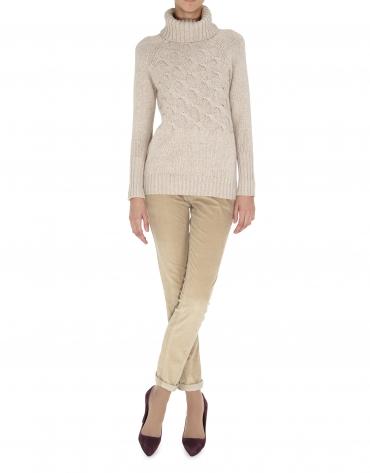 Beige cross-stitch turtleneck sweater