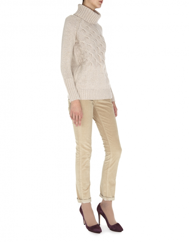 Beige cross-stitch turtleneck sweater