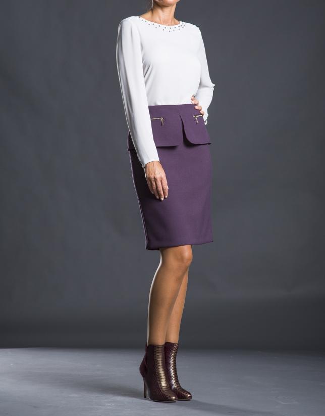 Straight aubergine pep-plumb skirt
