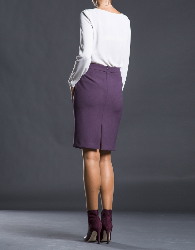 Falda recta berenjena pep-plumb