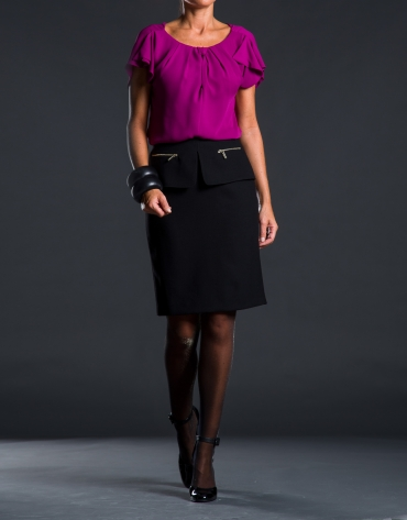 Straight black pep-plumb skirt
