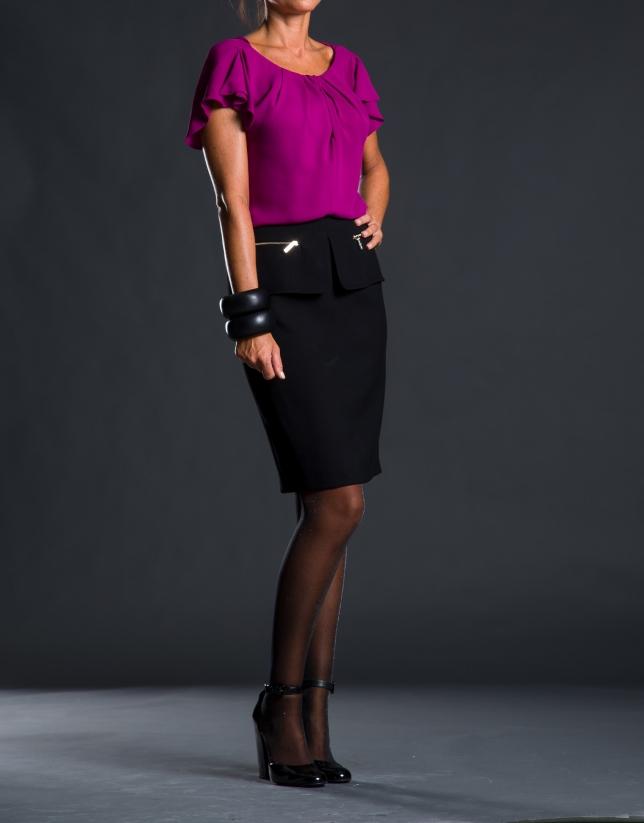 Straight black pep-plumb skirt