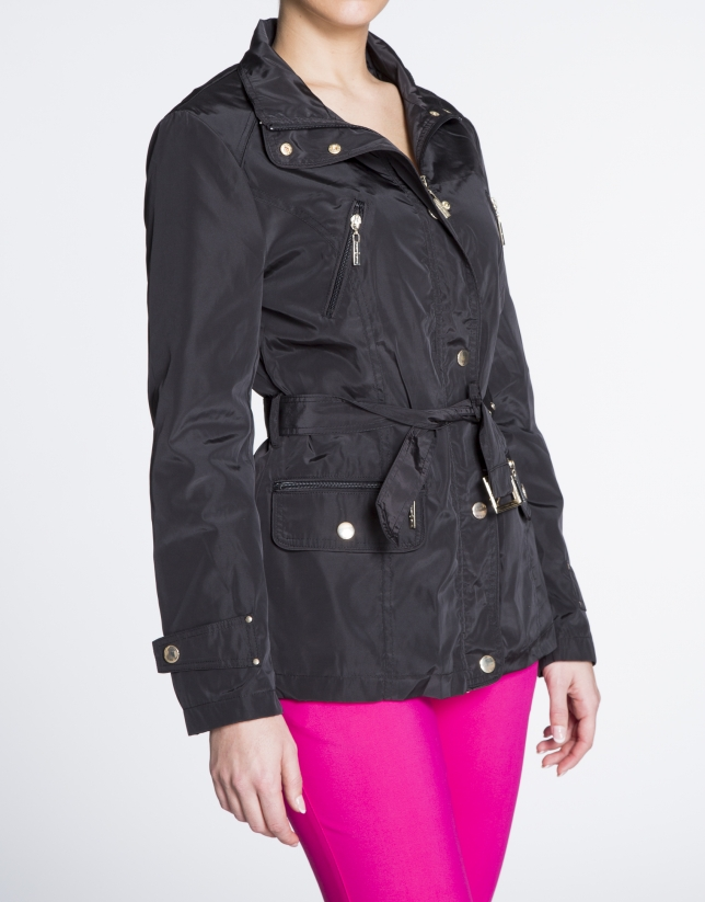 Black short zippered trench
