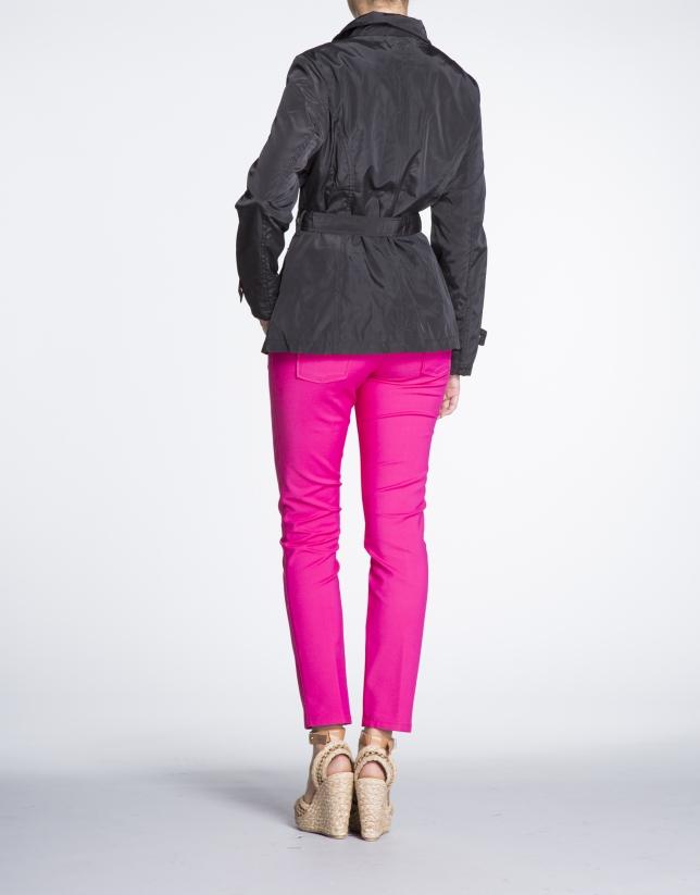 Black short zippered trench