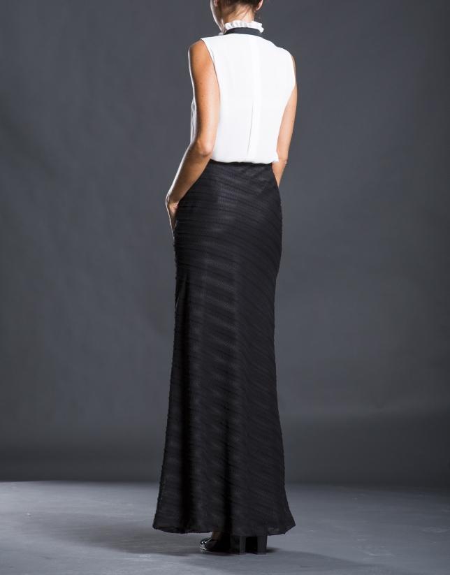Long, gray striped skirt