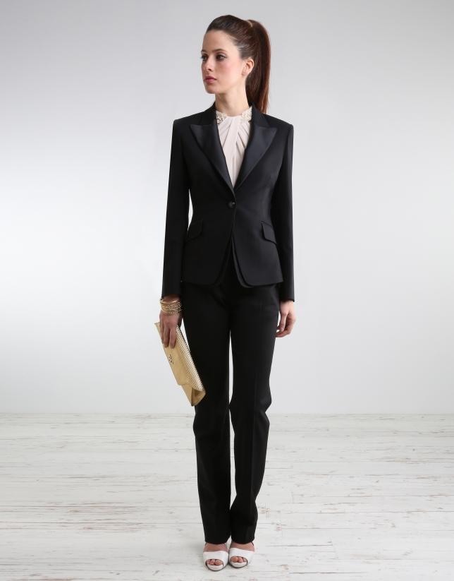Black blazer with satin lapels - Woman | Roberto Verino