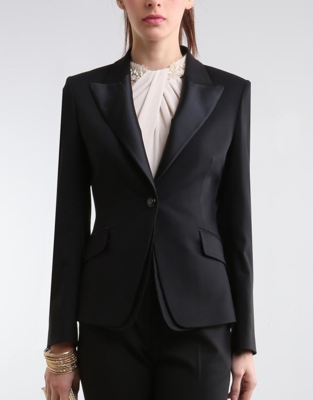 Black blazer with satin lapels