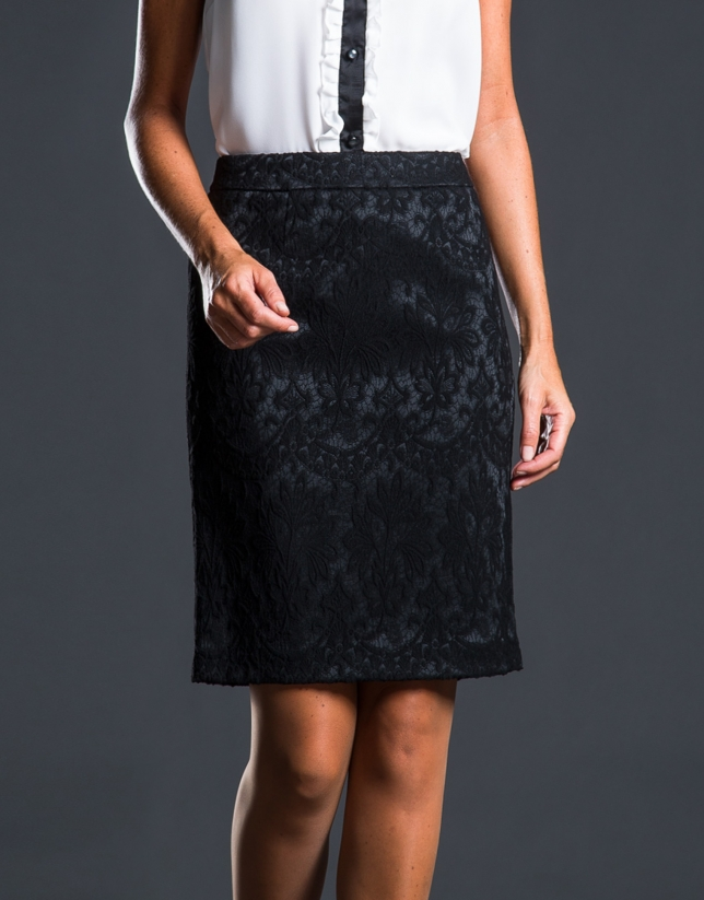 Black jacquard skirt