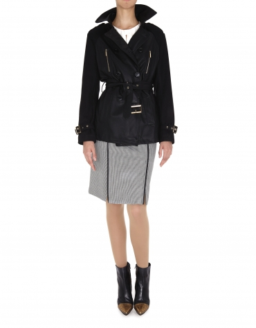 Leather and fabric Safari jacket with sleeves