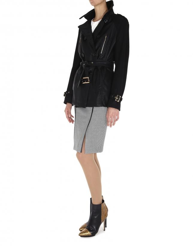 Veste style saharien en cuir et tissu sur les manches