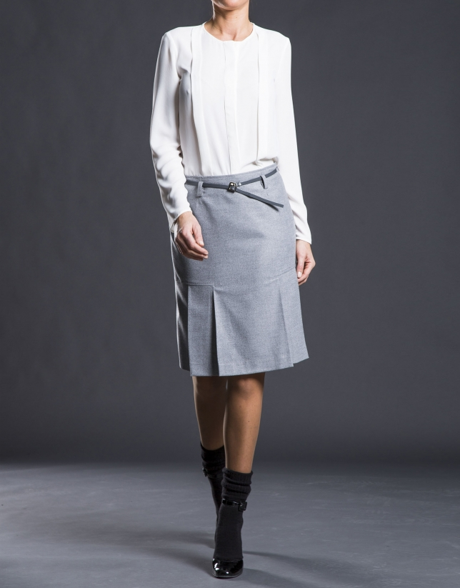 Gray skirt with bottom pleats.