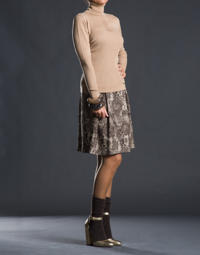 Pleated jacquard skirt