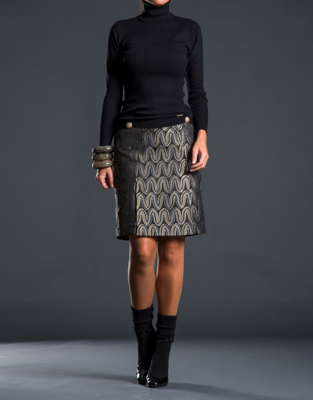 Gilded jacquard skirt with pockets