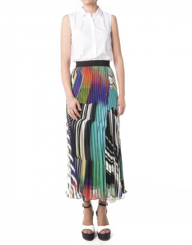 Long geometric print skirt