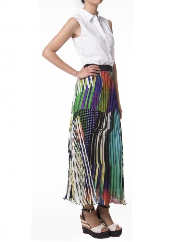 Falda larga estampado geométrico