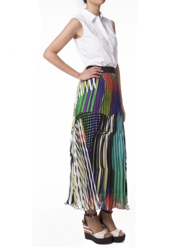 Long geometric print skirt