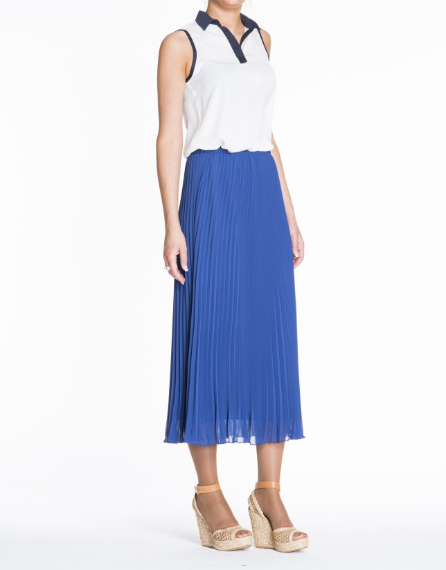 Blue Klein long pleated skirt