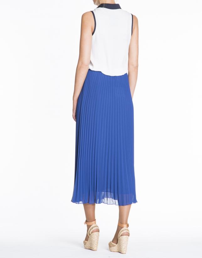 Jupe longue plissée couleur bleu klein