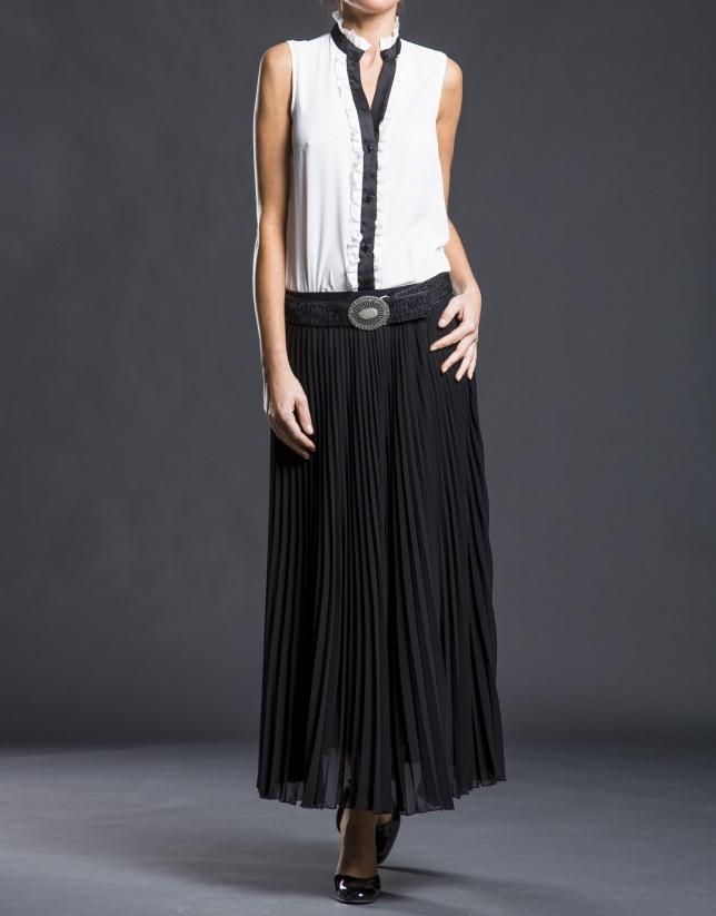 Falda larga plisada negra
