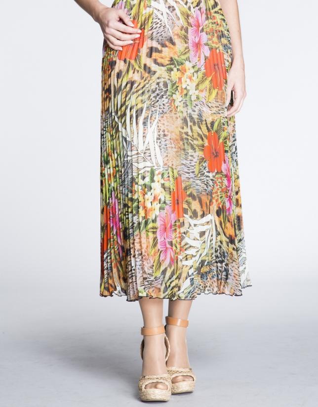 Jupe longue plissée motif floral.