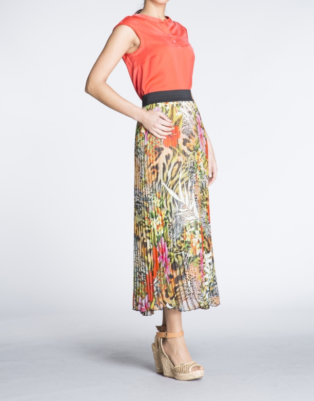 Floral print long pleated skirt