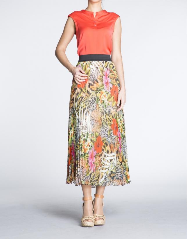 Falda larga plisada estampado floral