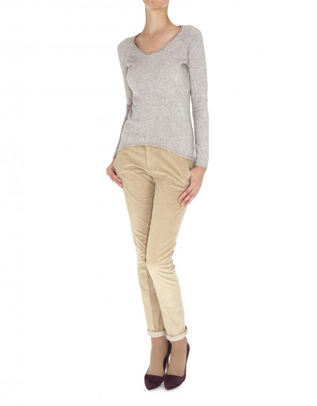 Beige fine knit V neck sweater
