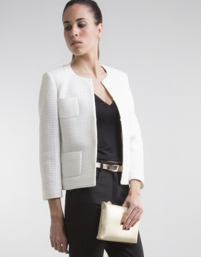 Veste courte blanc cassé à poches