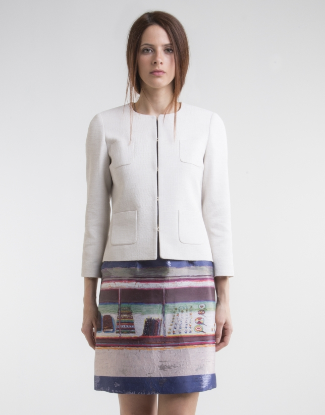 Veste courte à poches, blanc cassé