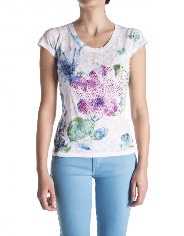 Camiseta floral azul