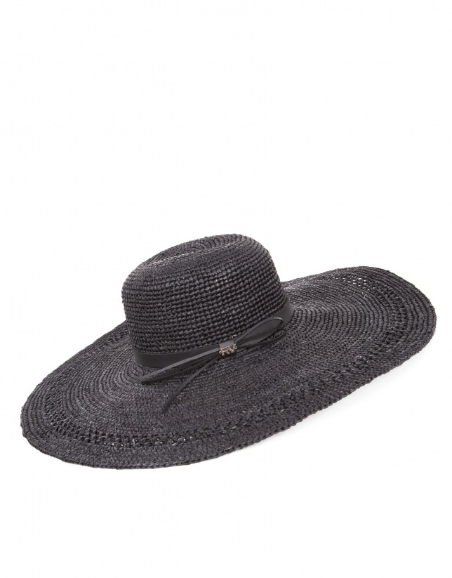 Black raffia wide-brimmed sun hat
