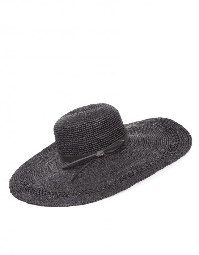 Black raffia wide-brimmed sun hat