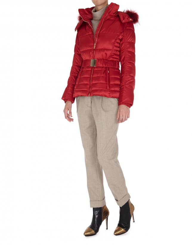 Short red trench coat with fur hood