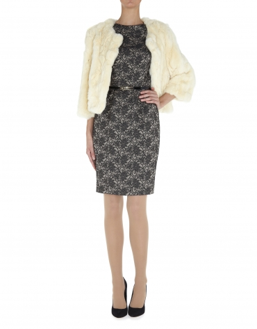Short beige rabbit fur jacket
