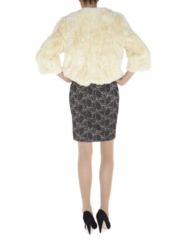 Short beige rabbit fur jacket