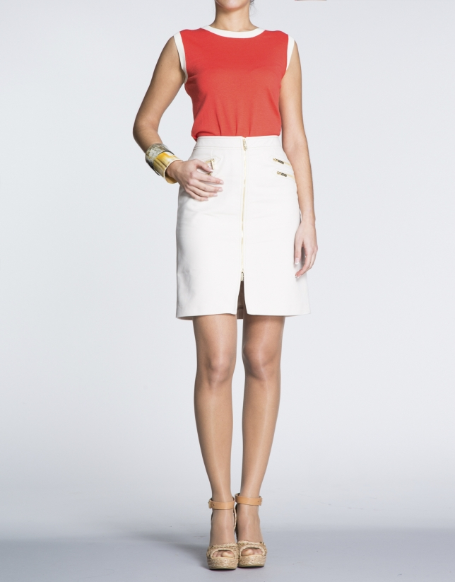 Ivory straight cotton skirt with zippers