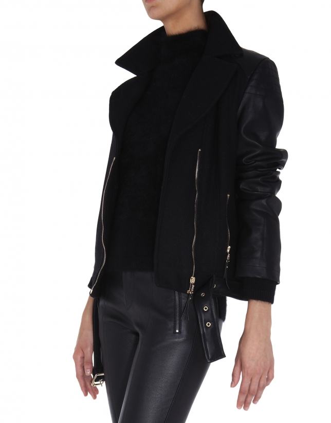 Black leather and fabric windbreaker