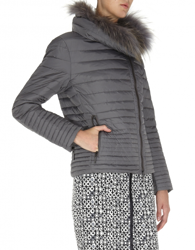 Gray quilted windbreaker with fur collar