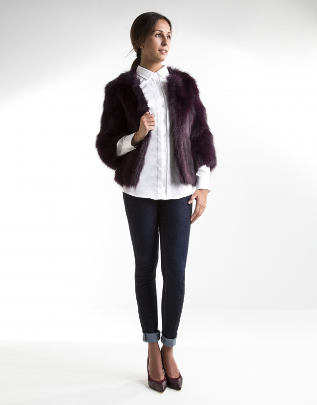 Burgundy fur jacket