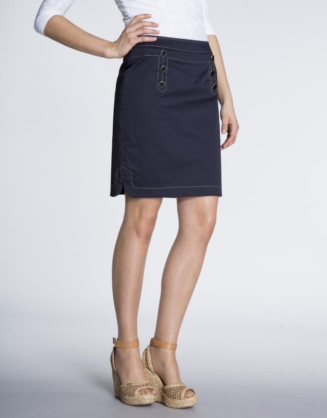 Straight cotton sailor style skirt
