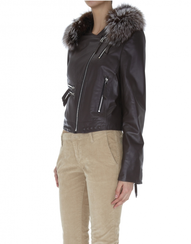 Brown leather windbreaker with fur collar