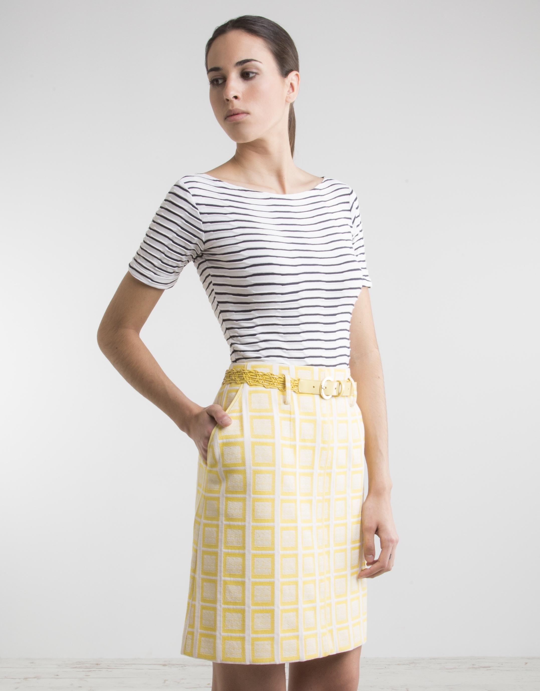 jupe jaune carreaux jupes femme roberto verino. Black Bedroom Furniture Sets. Home Design Ideas