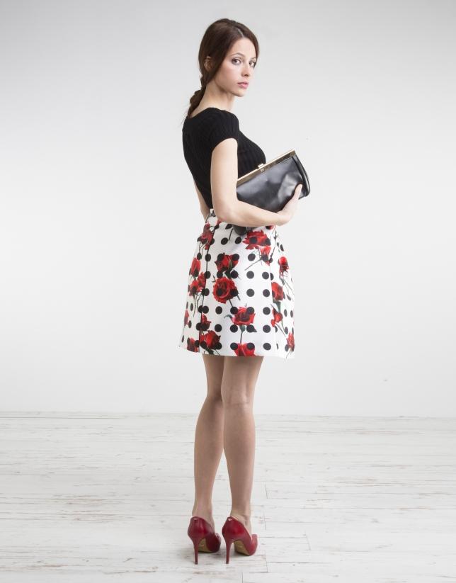 Falda flores y lunares negros