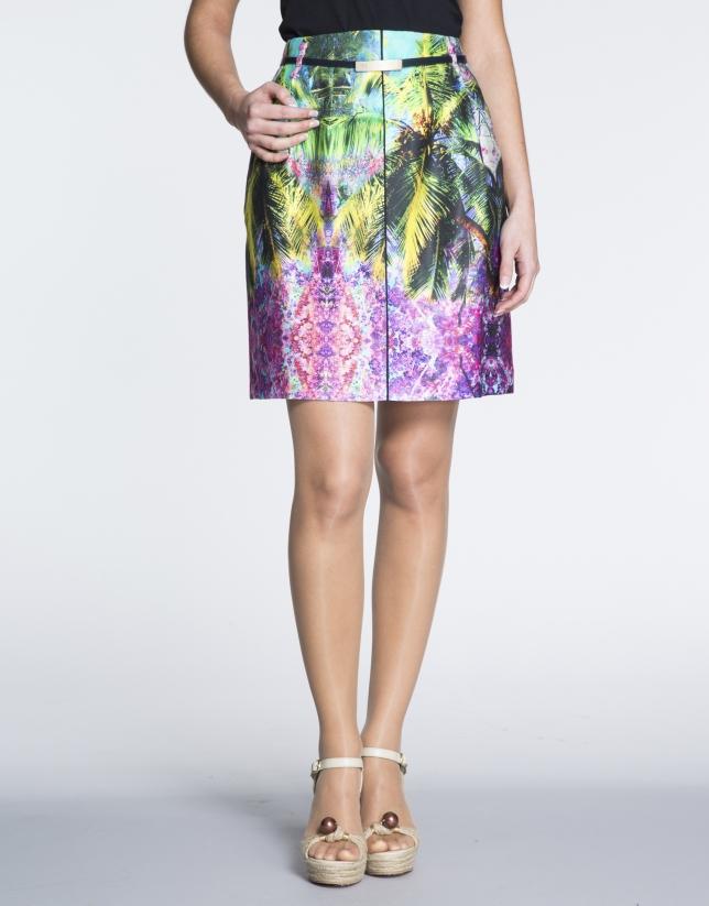 Tropical print A-line skirt